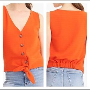 J.Crew Orange Tie Front Tank Top Women's Size XL